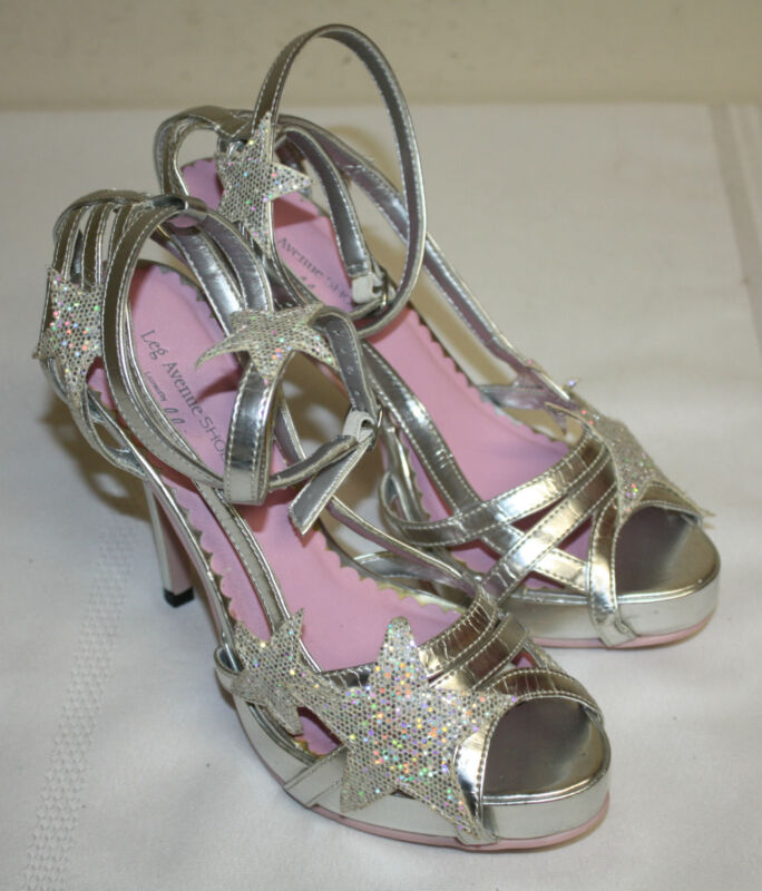 Womens Ladies Leg Avenue Silver Glitter Stars Ankle Strap Open Toe Heels Size 6M