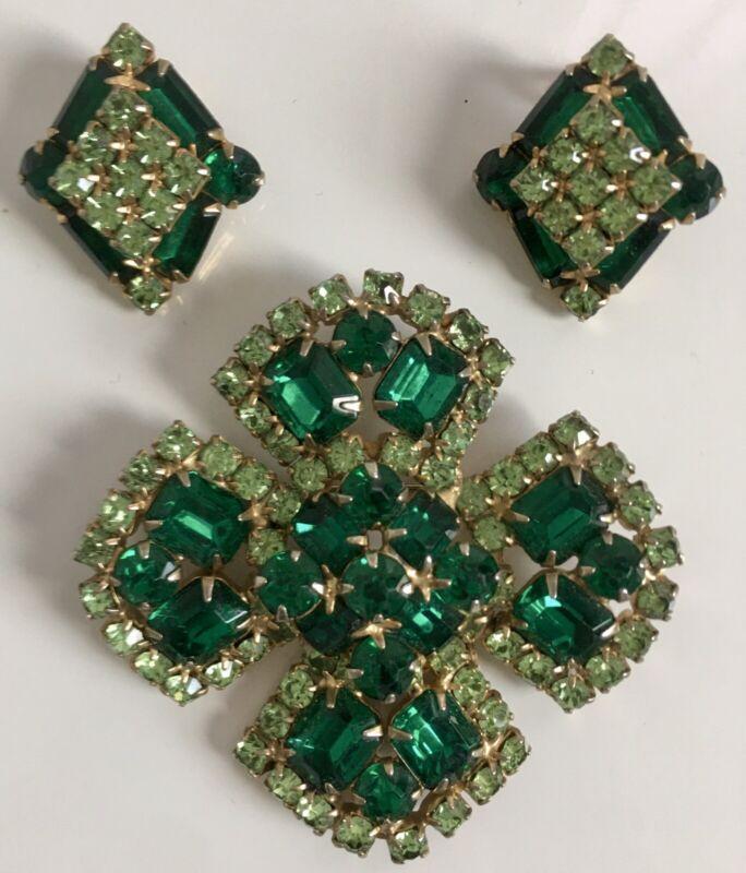 Vintage Juliana ?Rhinestone Christmas Green Set Pin/earrings