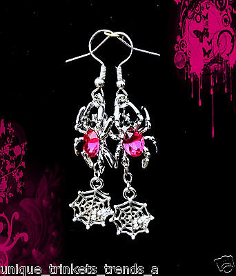 NESTONE SPIDER WEB DANGLE SILVER EARRINGS~HALLOWEEN GIFT (Pink Spider Web Halloween)