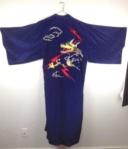 Vintage Kimono Japan cloud dragon navy blue/red embroidered full length robe