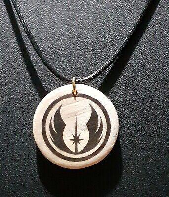 Star Wars JEDI Symbol Unisex Male or Female Wood Pendant Necklace