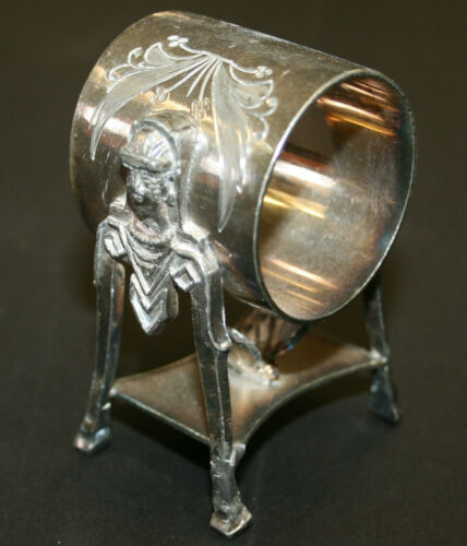Silver Plated Figural Napkin Ring Egyptian Heads Hold Butterfly Aurora #43