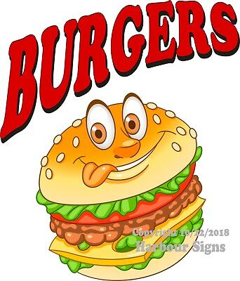 Burgers Decal Choose Your Size Concession Food Truck Vinyl Sign Sticker