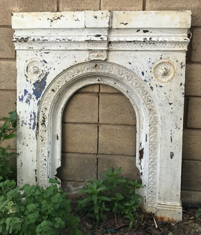 ANTIQUE CAST IRON FIREPLACE SURROUNDS Old White RARE to find
