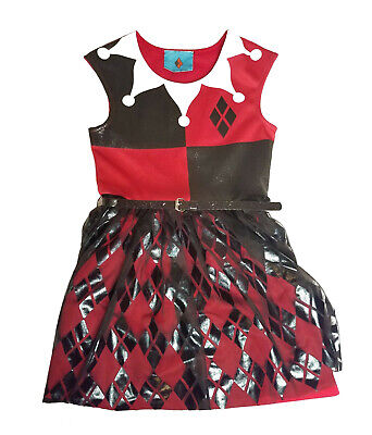 DC Villain Collection Harley Quinn Little Girls Costume with Tutu Dress Size 6-7