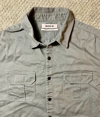 Marna Ro Men's Button Up Military Style Pocket Shirt