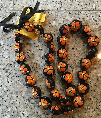 "Hawiian Kukui Tree Nut Necklace Black with Flower Design on Silk Ribbon 30"" NWT"