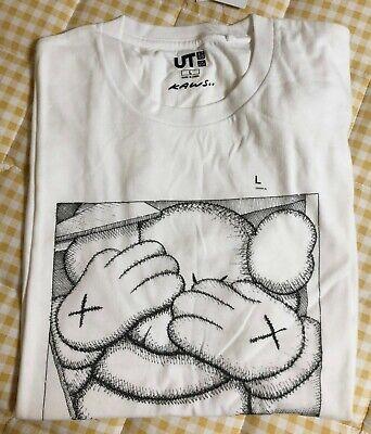 "Kaws x Uniqlo UT 2016 Short Sleeve size L Graphic T-Shirt ""Passing Through""White"