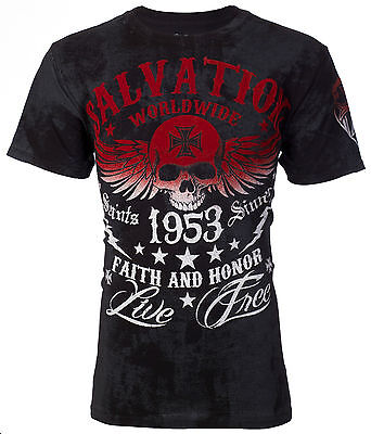 Archaic AFFLICTION Men T-Shirt BLACK TIDE Skull Tattoo Biker MMA UFC M-3XL $40 e