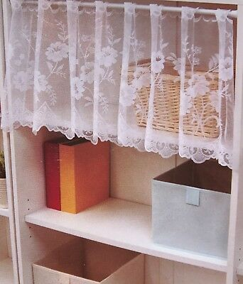 "2-Piece Daiso French Cafe White Floral Lace Window Curtains Valance 16"" H x 60'W for sale  Shipping to India"