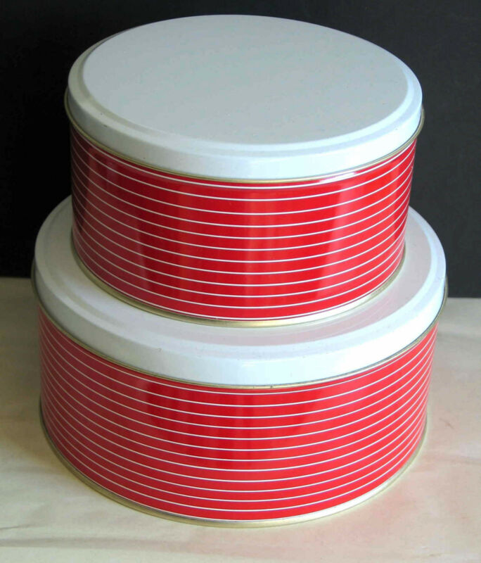 2 Metal Tins Red White Stripes display storage gift pack holiday empty FREE SH