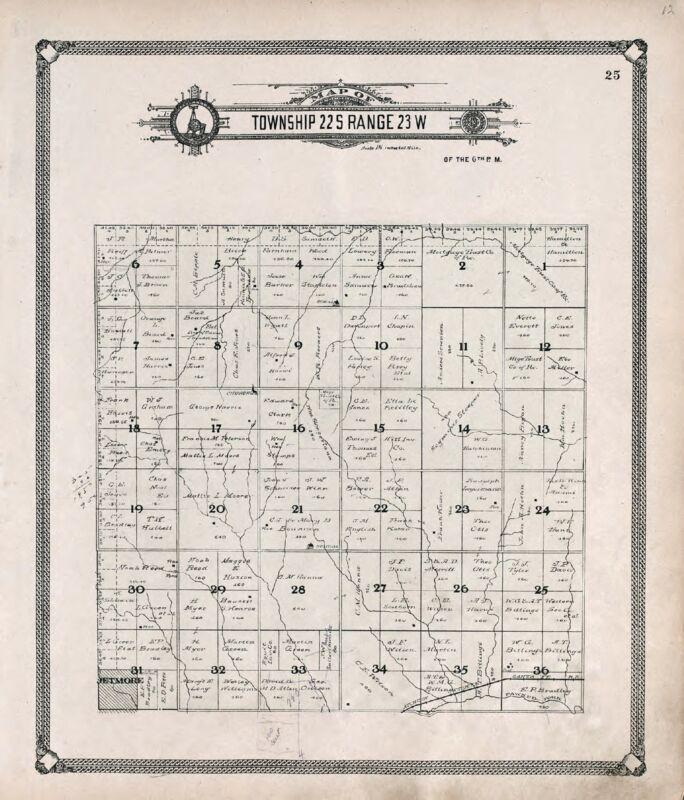 1907 Atlas HODGEMAN COUNTY KANSAS plat maps old GENEALOGY LAND OWNERS DVD P123