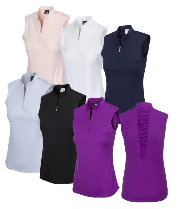 Greg Norman Womens Ml75 2Below Madarin Collar Sleeveless Polo - New 2020