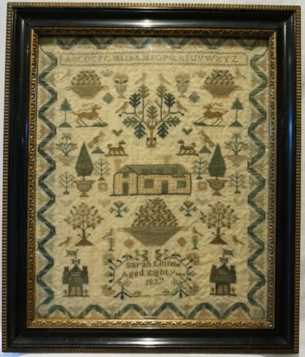 EARLY 19TH CENTURY COTTAGE & MOTIF SAMPLER BY SARAH LINNETT AGED 8 - 1837