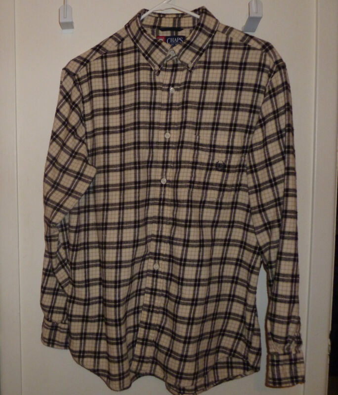 Men Casual Shirt Plaid Flannel by Chaps size L