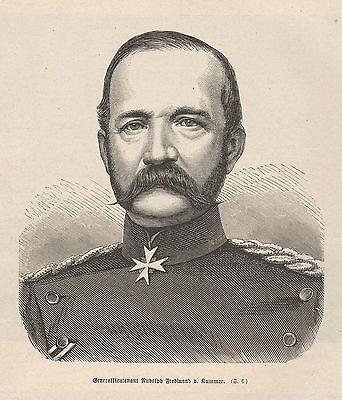 Generalleutnant Ferdinand von Kummer HOLZSTICH 1871 Deutsch-Französischer Krieg