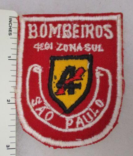SAO PAULO BRAZIL FIRE PATCH BOMBEIROS 4 ZONA Flatwire Original Vintage