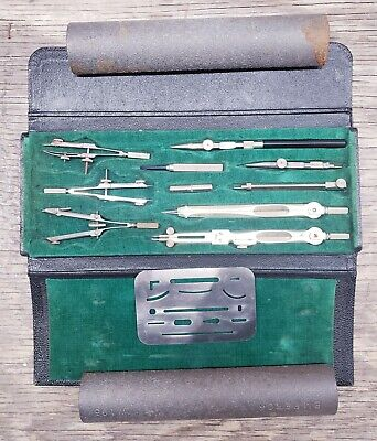 Antique Vintage WEBER 3969 Drafting Drawing Set - Engineer Tools Made in Germany