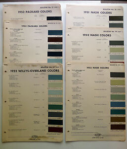 7 - VINTAGE DUPONT PAINT CHIPS COLOR CHARTS, NASH, PACKARD, WILLYS-OVERLAND