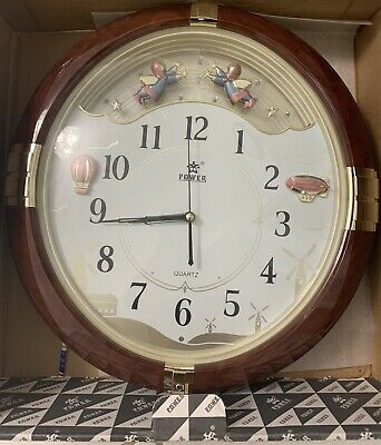 Power Round Angel Standard Traditional Analog Wall Clock Quartz Battery Powered  Traditional Round Wall