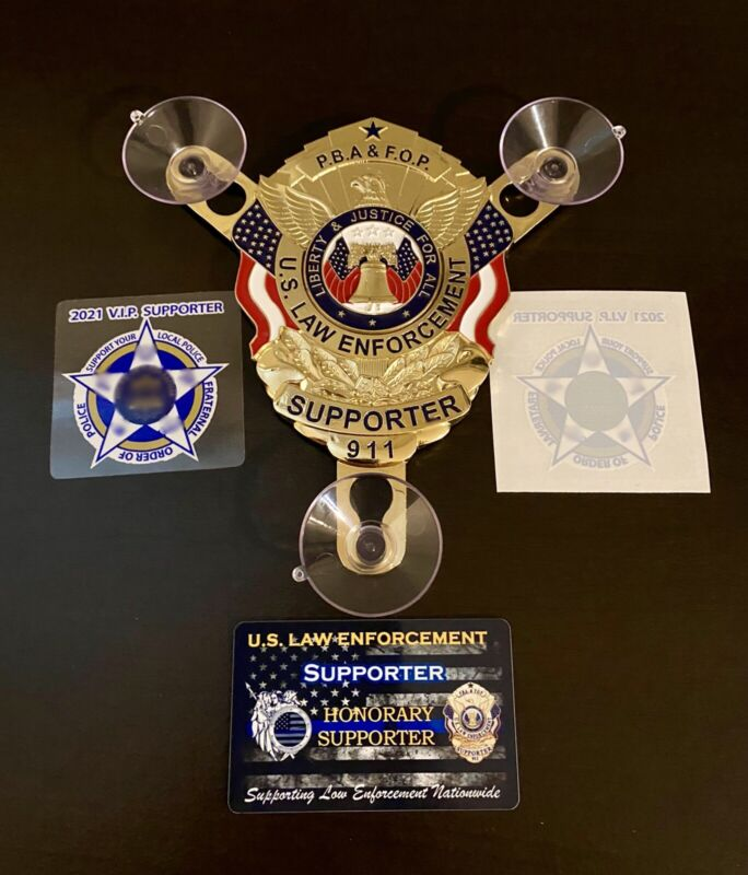 U.S LAW ENFORCEMENT GOLD PBA SUPPORTER CAR WINDOW SHIELD + CARD + DECAL STICKER