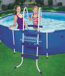 3 Step Iron Tube Plastic Steps Above Ground Swimming Pool Ladder Thomastown Whittlesea Area Preview