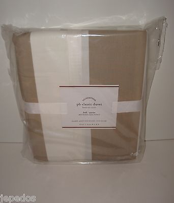 Awning Stripe Bedding - Pottery Barn Classic Awning Stripe Full Queen Duvet Cover NIP Taupe White 400 TC