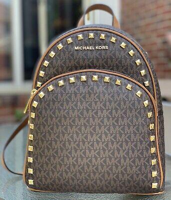 MICHAEL KORS ABBEY MEDIUM BACKPACK MK SIGNATURE BROWN GOLD STUDDED