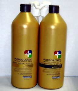 Pureology Nano Works Gold Shampoo Conditioner 33.8 oz Liter Set Pumps Nanoworks