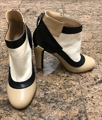 CHANEL Color Block Leather Booties