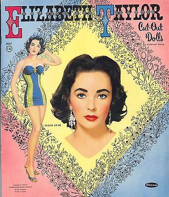 VINTAGE UNCUT 1957 ELIZABETH TAYLOR PAPER DOLL~WHITMAN~ORG SZ~LASER REPRODUCTION