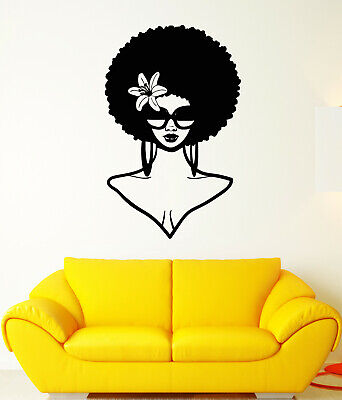 Vinyl Wall Decal African Girl Face Hair Sunglasses Curls Stickers (Asian Face Sunglasses)