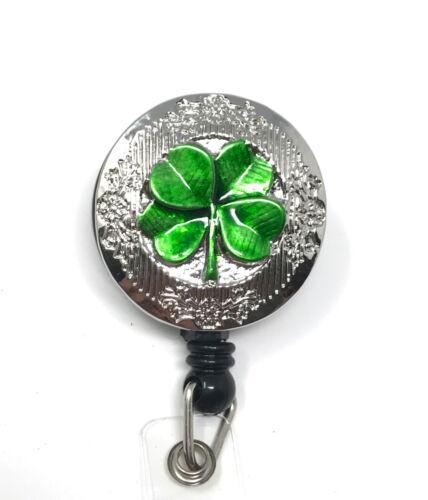 Retractable ID badge holder reel - Lucky Irish Shamrock Green 4 Leaf Clover