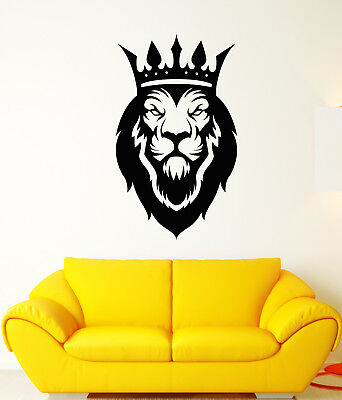 Vinyl Wall Decal African King Lion Crown Wild Big Cat Stickers (3035ig)