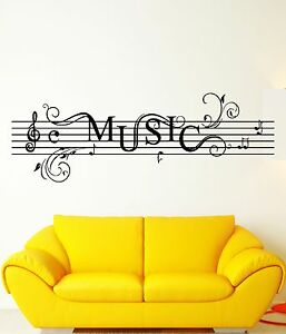 Wall stickers vinyl decal music notes rock n roll for for Rock n roll living room
