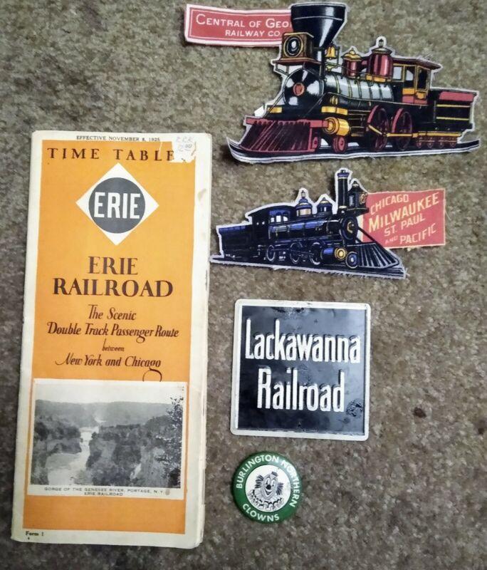 Lot Of 5 Vintage Railroad Items Patches,1925 Time Table, Burlington Clown Pin &