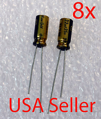 8x  22uf 25v Nichicon Muse Fg Fine Gold Audio-grade Capacitor Usa Seller