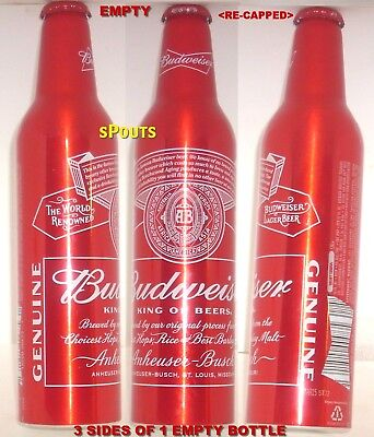 2015 ALUMINUM BEER BOTTLE-CAN PRY-CAP RED CROWN BUDWEISER USA PINT NO-REDEMPTION
