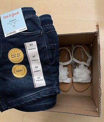 New NWT CAT & JACK Toddler Girls Blue Denim Jean Shorts Size 2T Soft Drawstring