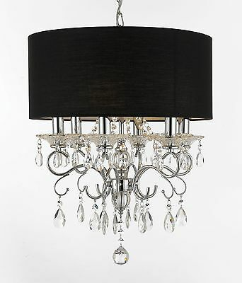 Silver Mist Crystal Drum Shade Chandelier Lighting Black Shade Pendant