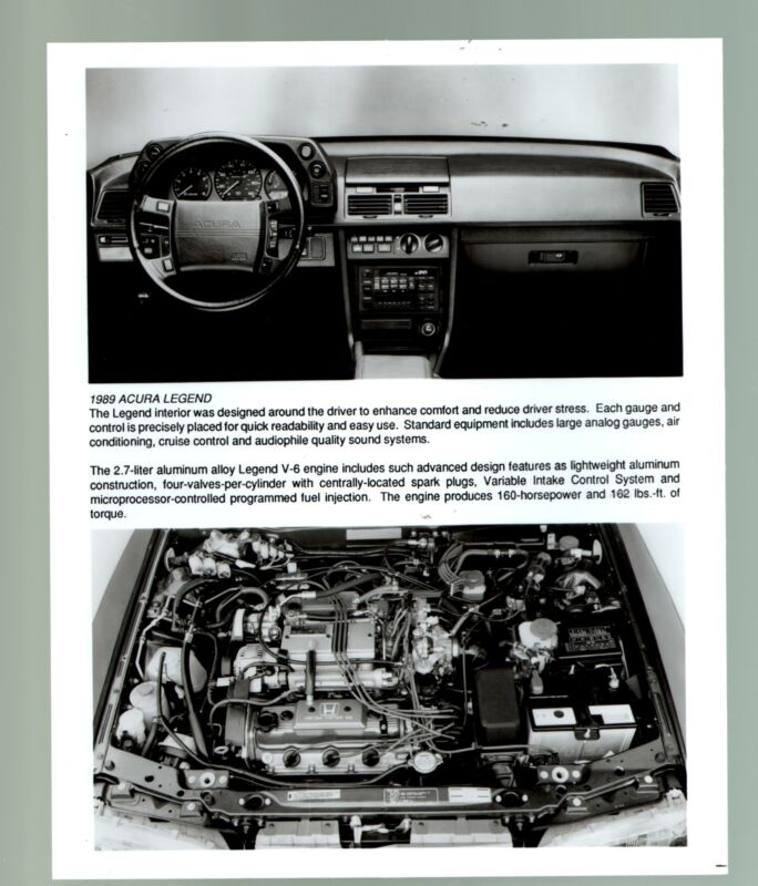 1989 Acura Legend Coupe-Engine Block-8x10-B&W-Promotional Still