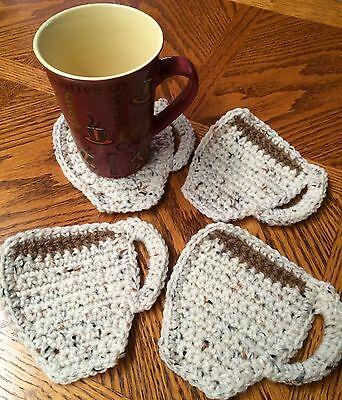 Set of Four (4) - Acrylic Handmade Crochet Coffee Mug Coasters - Aran fleck