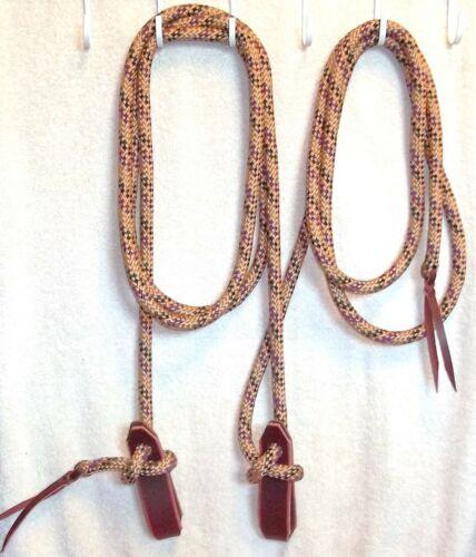 Mecate Rein Rope Slobber Straps Reins Cowboy Loop Buckaroo Trail tan multi color