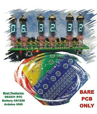 No Parts Bare Color Pcb Only Iv-3 Iv-6 For 6x Vfd Tubes Arduino Clock Shield