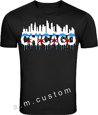 Chicago Windy City Skyline City of Chicago Flag T Shirt S-4XL - Windy City