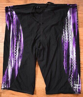 SPEEDO Endurance Plus Swim Shorts Jammers Mens 38 Black Purple Swimsuit