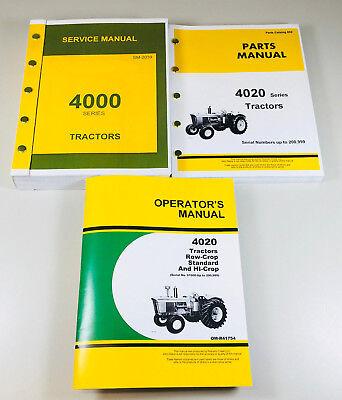 Service Parts Operators Manual Set John Deere 4020 4000 Tractor Catalog Repair