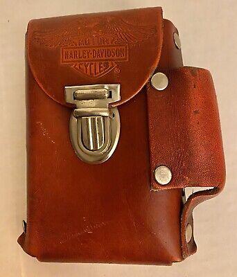 Vintage Harley Davidson Leather Cigarette & Lighter Case With Belt Loop On Back