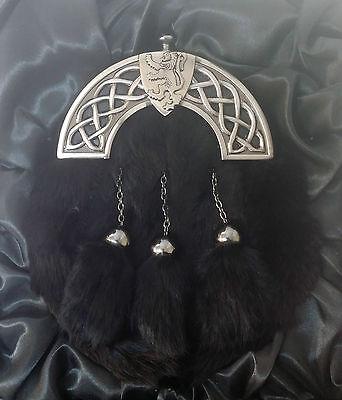 NEW BOXED Antique Celtic Shield Lion Black Rabbit Kilt Sporran Made in Scotland