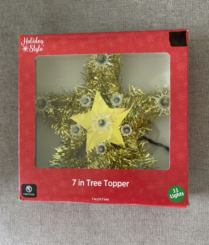 """Holiday Style 7"""" Tree Topper Gold 11 Clear Lights New"""